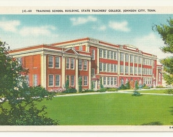1940s Linen Postcard- Training School Building, State Teachers' College, East Tennessee State, Johnson City, Tennessee, TN. ~ Free Shipping