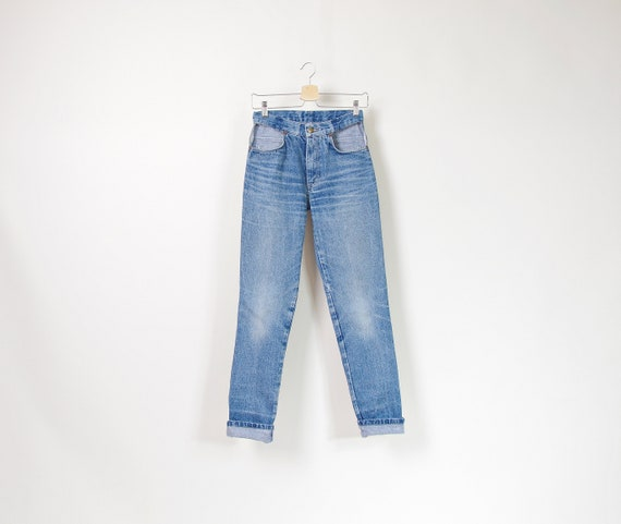 80s Cut out pockets high waisted denim jeans / size 29
