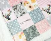 Deer Baby blanket, Minky blanket, floral blanket woodland blanket, personalized blanket, baby shower gift, birth, girl blanket, pink blanket
