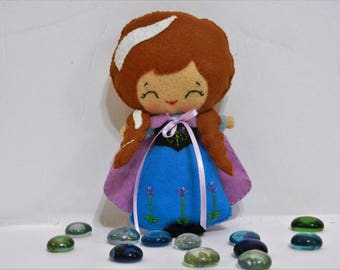 Felt Frozen Anna Softie Plushie Doll by Noialand