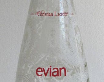 2008 Christian Lacroix Evian Limited Edition Collectible Water Bottle Christmas Snow Glass Italy