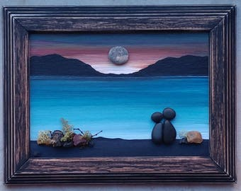 Pebble Art, Rock Art, Pebble Art Couple, Rock Art Couple, beach, sunset, honeymoon, anniversary, unique pebble art 8.5x11 (FREE SHIPPING)