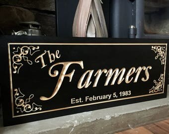 Wedding Gifts, Personalized Carved Sign, Custom Family Sign, Established Signs, Anniversary Gifts, Wedding Gift, Welcome Sign, Wood Wall Art