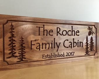 Cottage Signs Wooden Carved Custom Welcome Signs Family Last Name Signs Pine Tree Pinecone Address Plaque unique gift ideas Benchmark Signs