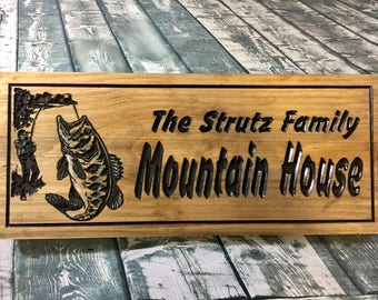 Custom Lake house Sign, Large Mouth Bass, Carved Wood Family Name Plaques, Cabin Signs, Lake Signs, Mancave, bar signs, Welcome Signs