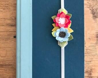 Felt Bookmark, Felt Flower Bookmark, felt flowers, journal, birthday gift, friend gift, teacher gift, summer reading, bookworm