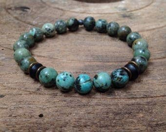 Men's Mala Bracelet, African Turquoise, Agate, Beaded, Stretch Bracelet, Men's Bracelet, Bronze
