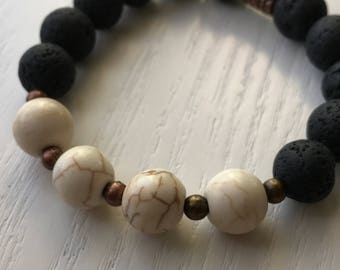 Stretchy Black Lava and Howlite Beaded Bracelet  FREE US SHIPPING