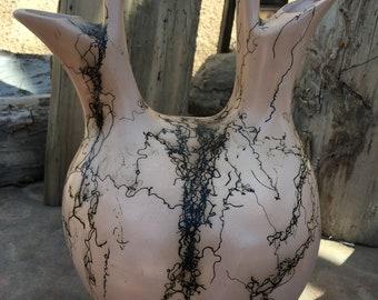 Ornamental Ceremonial wedding vase or jug, southwestern horsehair fired ceramic clay