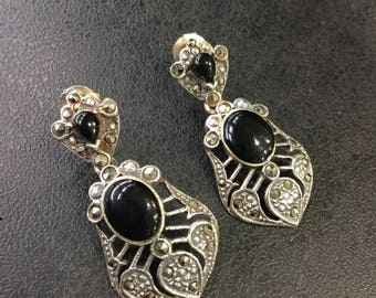 Silver Marcasite and onyx drop earrings