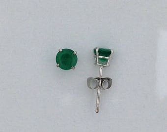 Natural Emerald Stud Earrings Solid 14kt White Gold