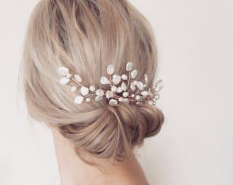 Bridal hair comb, bridal accessories, wedding hair accessories, pearl comb, boho, freshwater pearl, rose gold gold, silver, bridal headpiece