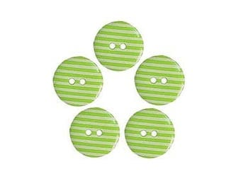 5 buttons 18 mm Green White Stripes