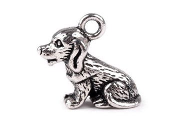 4 Charm dog charm double sided silver