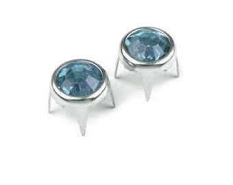 10 rivets studs metal blue rhinestone silver 8 mm