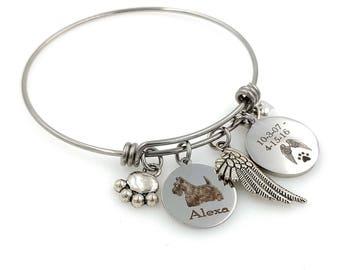 Scottie Dog, Scottish Terrier Personalized Memorial Remembrance Bangle Bracelet or Necklace, Engraved - Rainbow Bridge