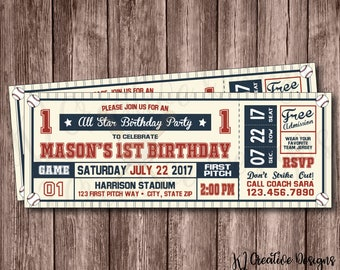 Baseball Ticket Birthday Invitation   Baseball Birthday Invitation   Printable Birthday Invitation   Birthday Printable   Kids   Digital