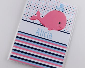 Baby Girl Photo Album Pink Whale 4x6 or 5x7 Picture Grandmas Brag Book Personalized with Name Custom Ahoy Nautical Birthday Gift 851
