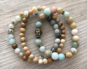 Bali Bliss ~ Amazonite & Crysanthemum ~ Stacking Bracelet Set, Mala Bracelet, Stretch Bracelet