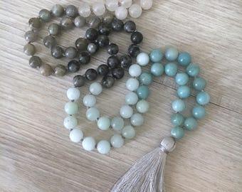 Reserved Listing For Michelle - Breathe ~ Amazonite, Labradorite, Black Moonstone, White Jade Mala Necklace