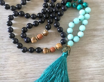 Heart & Soul ~ Blue Goldstone, Chrysocolla and Aqua Quartzite~  Hand Knotted 108 Bead, Mala Necklace, Tassel Necklace, Meditation Beads