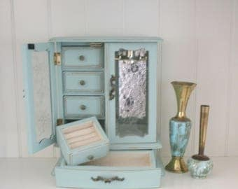 Jewelry Box - Vintage Musical Jewelry Cabinet - Large Jewelry Box - completely updated - Shabby Chic Jewelry Armoire -