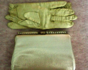 Gold Lemay Evening Clutch with Matching Gloves - 5480
