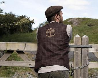 ON SALE Tree of Life Waistcoat, Brown Waistcoat, Vest,  Wool Waistcoat, Wedding Waistcoat, Alternative Wedding Waistcoat, Brass Buttons.