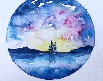ORIGINAL Watercolor painting - Northern Sunset - Dreamy skies and reflections