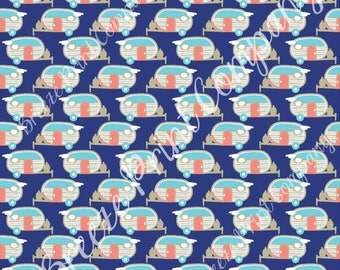 Camper craft  sheet - HTV or Adhesive Vinyl retro trailer pattern printed vinyl navy background with coral, white and aqua camping HTV18506