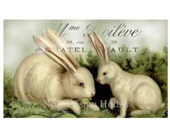 French Rabbit Digital Download, ACEO, Digital Collage, French Gift Tags, French Digital, Rabbit Digital, Transfer Images, Vintage Digital