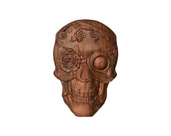 Gothic Skull Decor, Wooden Skull, Skulls & Roses, Skull Art, Dark Fantasy, Mystical Art, Wood Carving, Skull, Roses and Skull, WOOD WALL ART