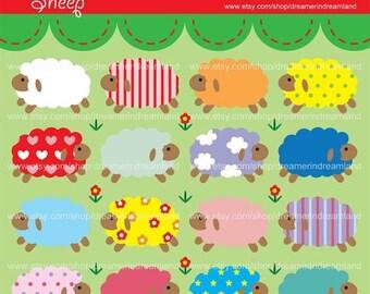 50% OFF Sheep - PDF PNG Instant Download Printable Clip Art Digital File