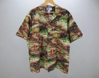 RJC Hawaiian Shirt Vintage RJC Yacth Island Scenery Shirt Men's Size XL Made in Hawaii U.S.A.