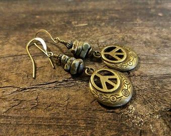 Boho Earrings, Peace Earrings, Bronze Earrings