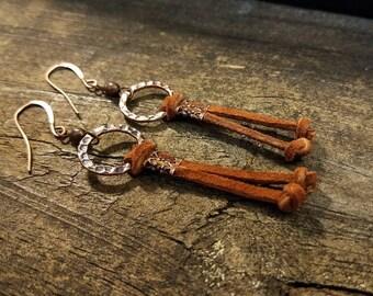Boho Earrings, Leather Earrings, Southwestern Earrings, Earthy Earrings