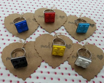 Hand Made 2x2 Brick Ring Girls or Womens Quirky Novelty Jewellery NEW, made using a LEGO brick, Adjustable Ideal PARTY bag filler or gift