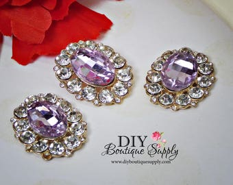 NEW Large Lavender Purple Buttons Rhinestone Buttons Gold Flatback Embellishment Great For Shoe Clips Bows flower centers 3pc 32x25mm N141