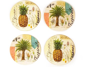 Pineapple Coasters, Palm Tree Coasters, Coaster Collection, Pineapple Drink Coasters, Pineapple Gift, Tropical Coasters