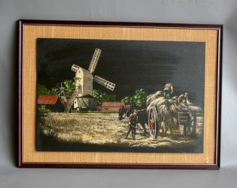 Vintage 1970s/80s Retro Framed Windmill Picture on WELSH SLATE! Made in Blaenau Ffestiniog 500 Million Years Old