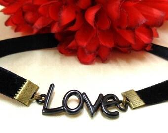 Black Velvet Choker + Love Charm, Love Choker, Black Choker, Love Necklace, Black Charm Choker, Gift for Her, Boho Choker, Velvet Necklace