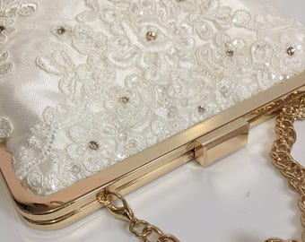 Bridal Clutch / Ivory Lace Wedding Bag with Swarovski Crystals / Evening Purse