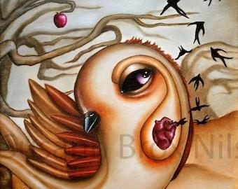 Print of love bird with heart, 20 x 20 cm, art by Susann Brox Nilsen. Oilpainting, owls art, love, nature, forest, trees, animal portrait