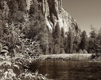 Photograph of El Capitan and the Merced River. - Archival Photographic Print