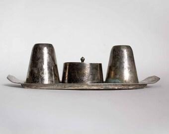 Vintage EPNS England Salt Pepper Mustard Set. Silver Nickel, cobalt blue glass Cruet Set