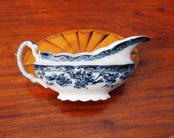 Antique Flow Blue and White Gravy Boat Wedgwood Sibyl England