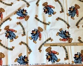 "DAISY KINGDOM ""Blue Jean Teddy Toss"" Flannel Fabric"