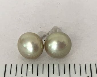 8 mm Pale Yellow Honora Pearl 925 Sterling Silver Post Earrings gw17-019