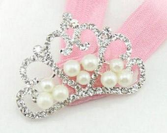 Baby Crown headband Pink baby tiara headband Baby rhinestone tiara Princess Headband girls Crystal Pearl Crown Baptism headband Photo prop