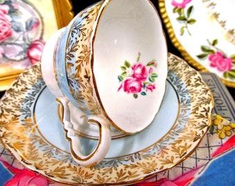 Royal Stafford Tea Cup and Saucer Blue & Pink Rose Teacup